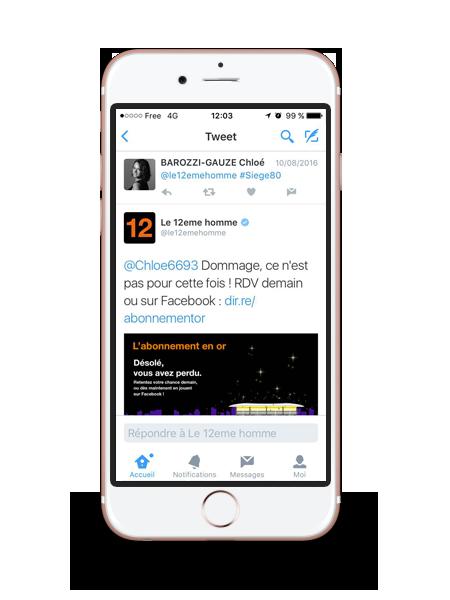 Application Twitter pour Orange le 12eme homme